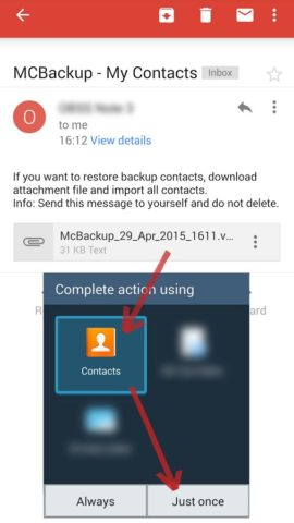 My Contacts Backup для Android